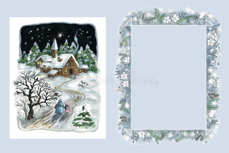 Kerstkaart en frame stock illustratie