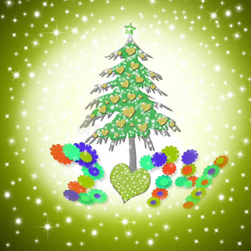 Kerstkaart 2014, grappige liefdeboom royalty-vrije illustratie