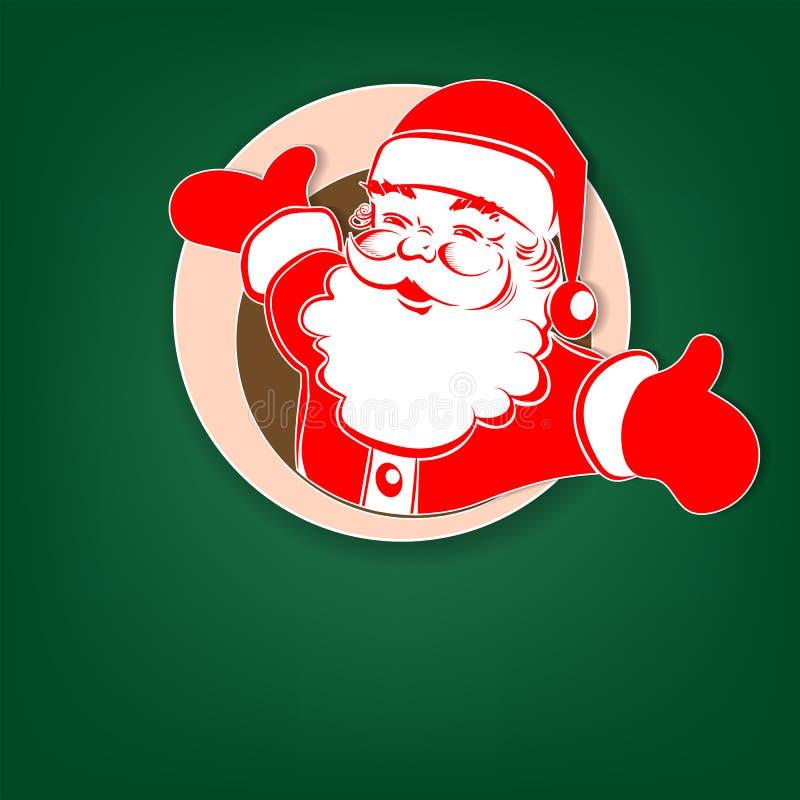 Kerstkaart groen met een rood, wit silhouet van Santa Claus in een rond kader vector illustratie