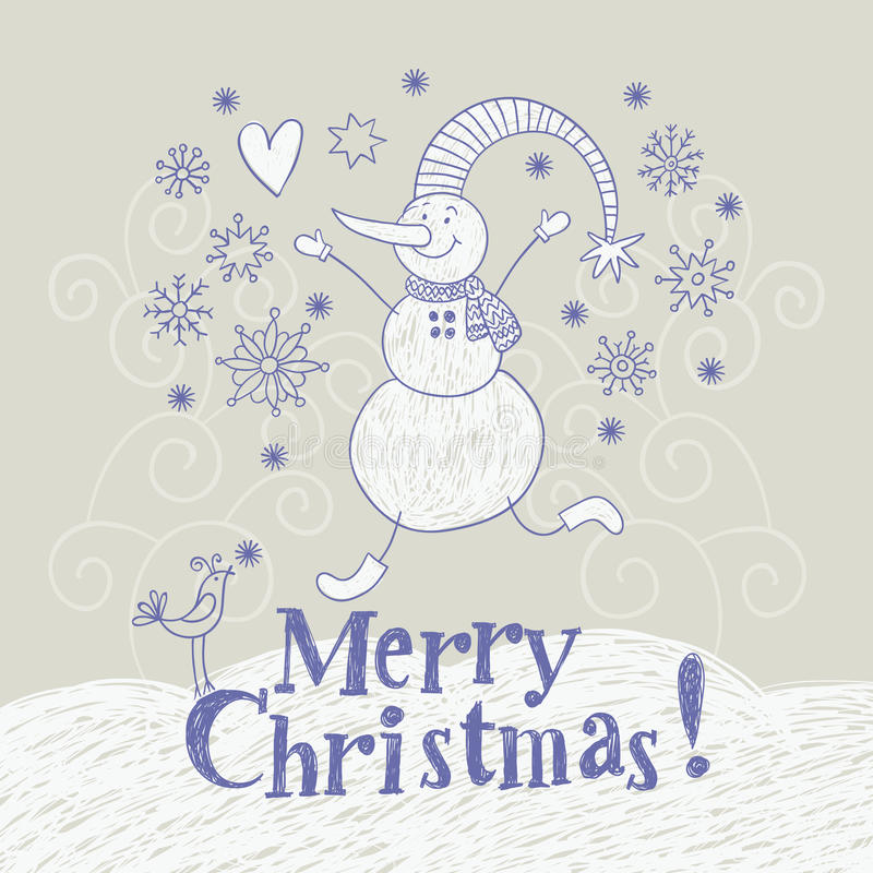 Kerstkaart, handtekening stock illustratie
