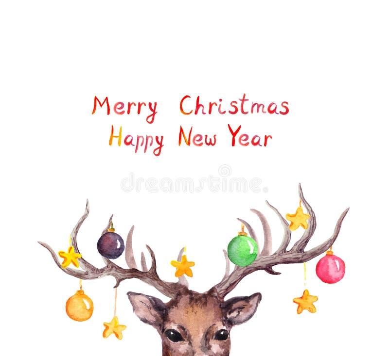 Kerstkaart - herten dierlijke hoofd, decoratieve snuisterijen op hoornen watercolor royalty-vrije illustratie