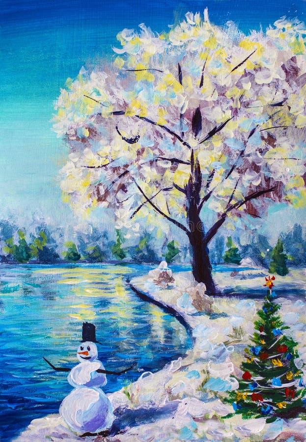 Kerstkaart, het landschap van de feewinter, Kerstboom met speelgoed, vrolijke sneeuwman, mooie sneeuwsakuraboom tegen blauw p stock afbeelding