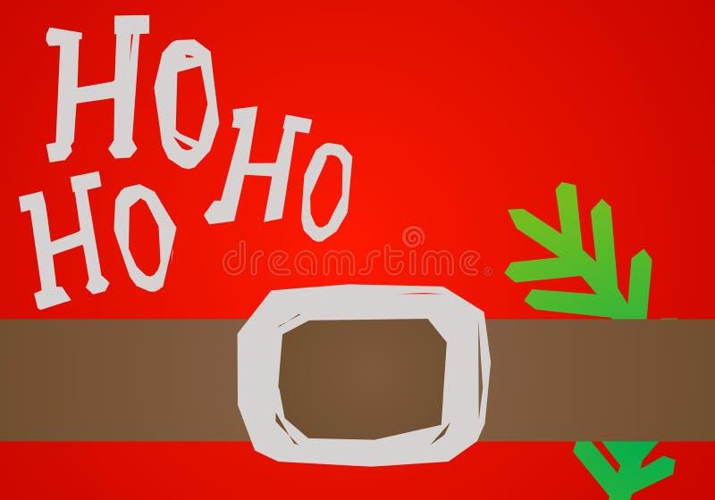 Kerstkaart HO HO HO stock illustratie