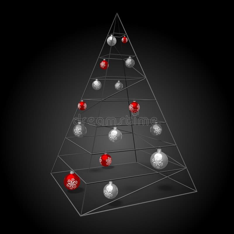 Kerstkaart - Kerstmisboom vector illustratie