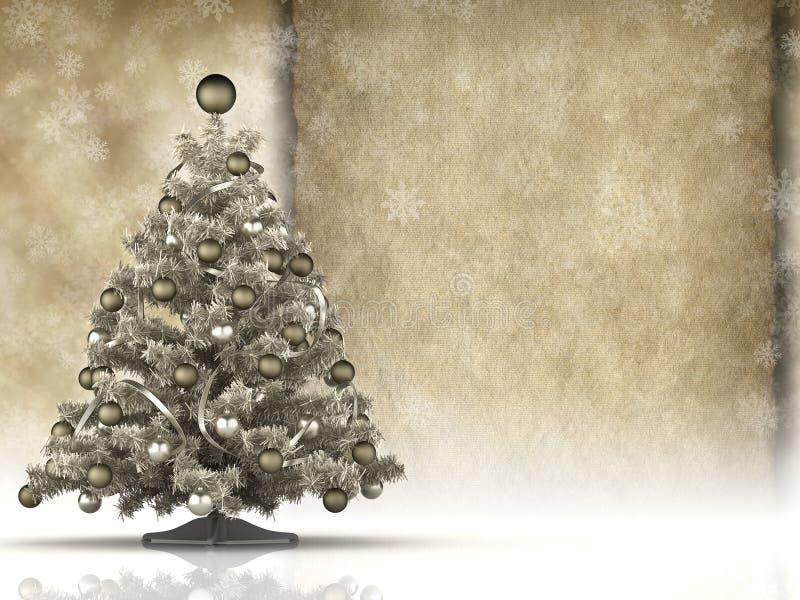 Kerstkaart - Kerstmisboom en leeg met de hand gemaakt document blad royalty-vrije illustratie