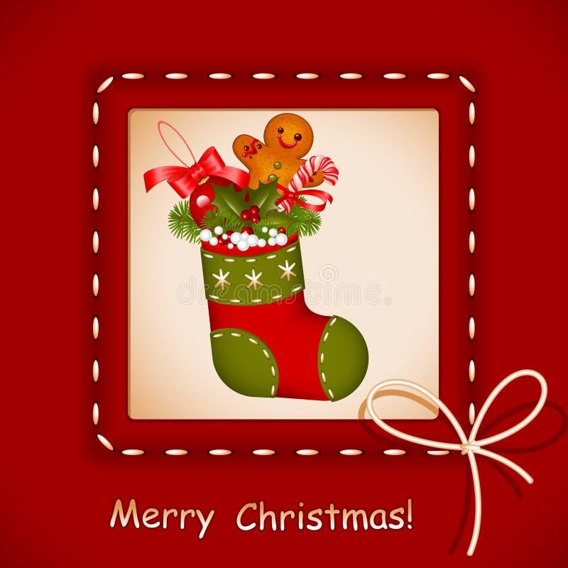 Kerstkaart. kous met koekjes stock illustratie