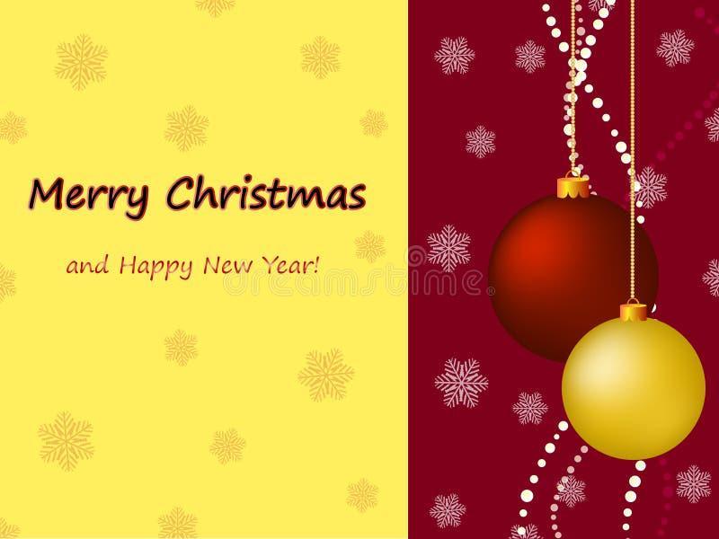 Kerstkaart met ballen en groeten stock illustratie