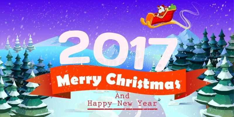 Kerstkaart met boom en de Kerstman stock illustratie