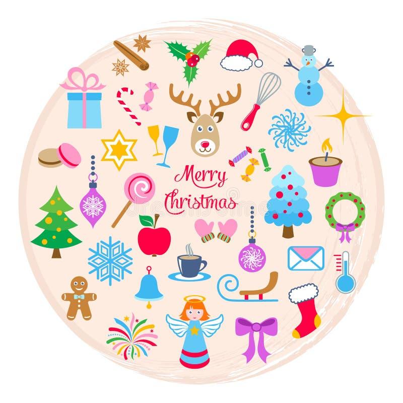 Kerstkaart met de pictogrammen van Kerstmis royalty-vrije illustratie