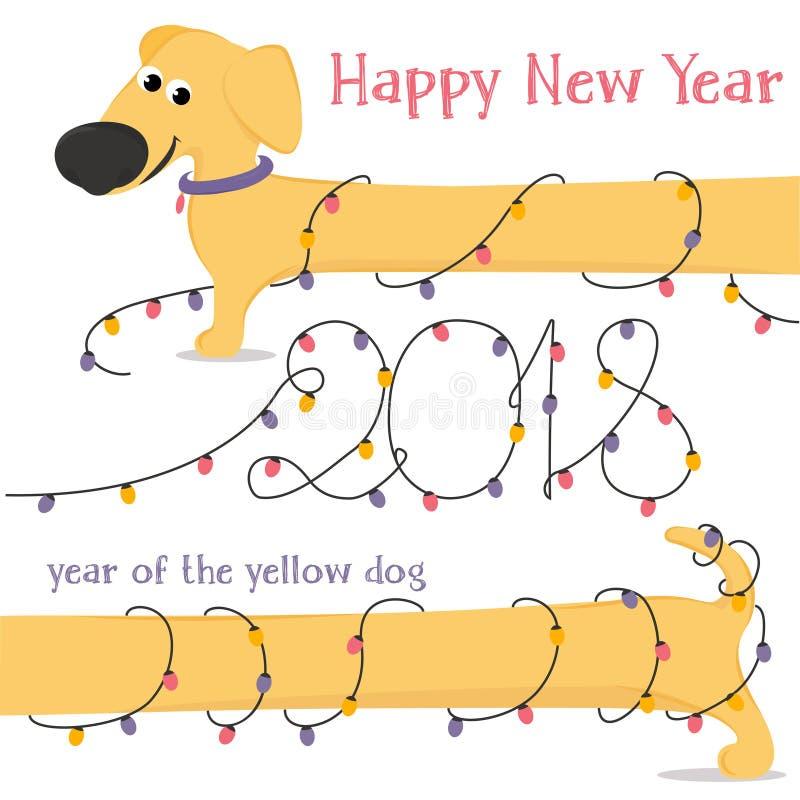 Kerstkaart met de Tekkel en Kerstmislichten van de beeldverhaal gele hond vector illustratie