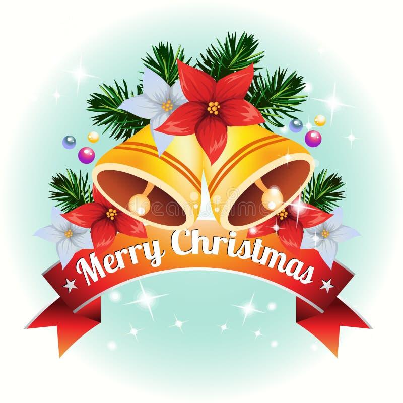 Kerstkaart met de vector van de klokdecoratie stock illustratie