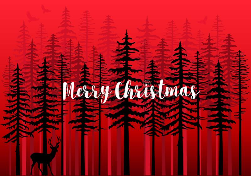 Kerstkaart met de winterbos, vector vector illustratie