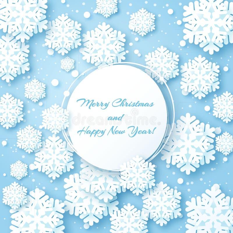 Kerstkaart met document sneeuwvlok stock illustratie
