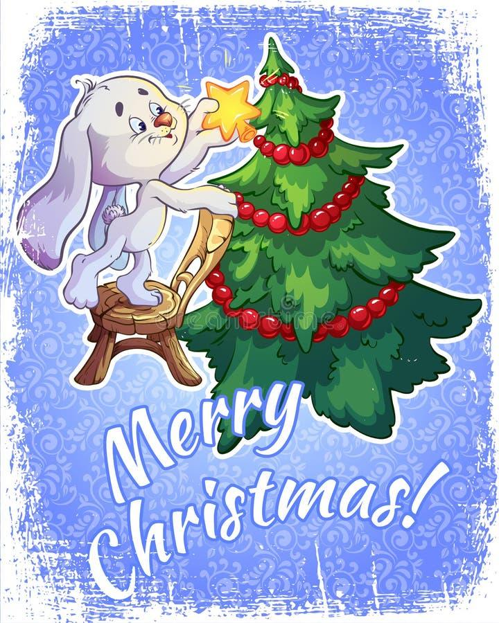 Kerstkaart met een haas en een Kerstboom stock illustratie