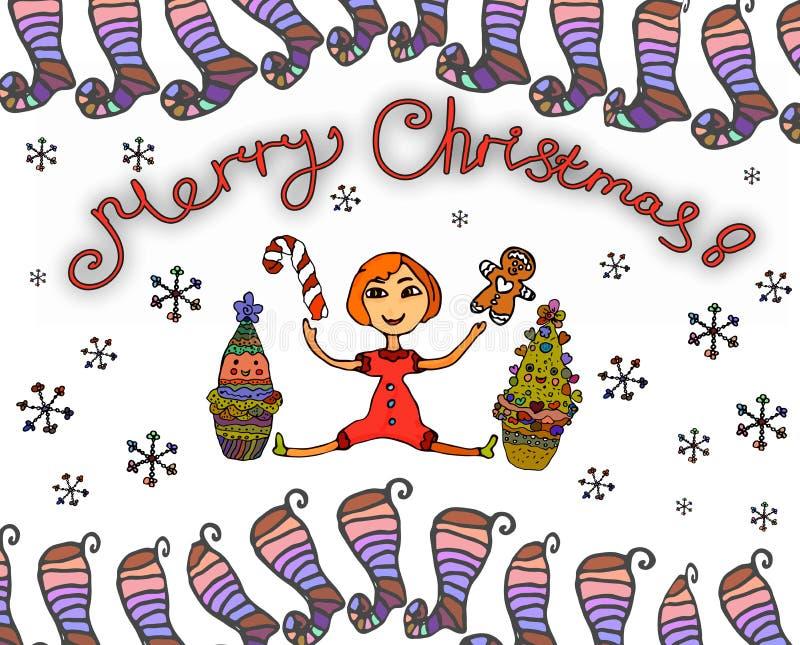 Kerstkaart met een klein helder meisje, beeldverhaalkerstbomen, en een verfraaid Kerstmisspeelgoed vector illustratie
