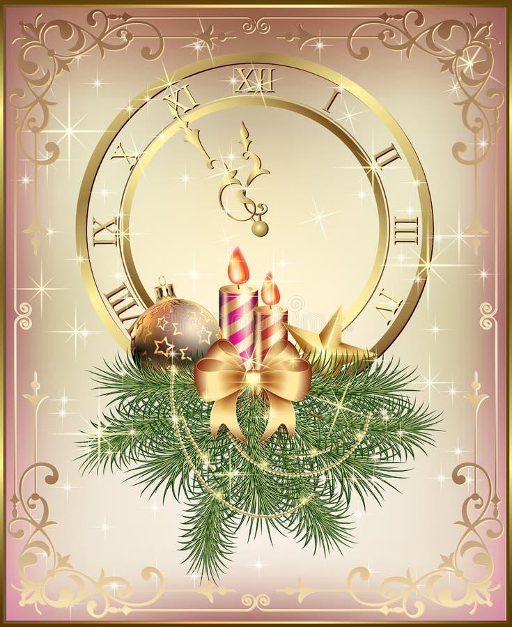 Kerstkaart met een klok, een Kerstboom en gouden kaarsen met een boog en ornamenten stock illustratie