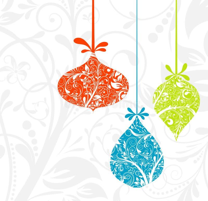 Kerstkaart met een ornament,   royalty-vrije illustratie
