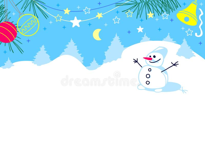 Kerstkaart met een sneeuwman die zich in een sneeuwbos bevinden stock illustratie