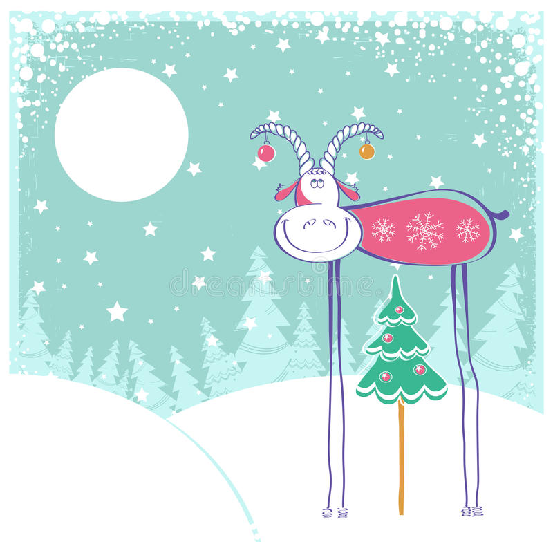 Kerstkaart met geit in de winterlandschap stock illustratie