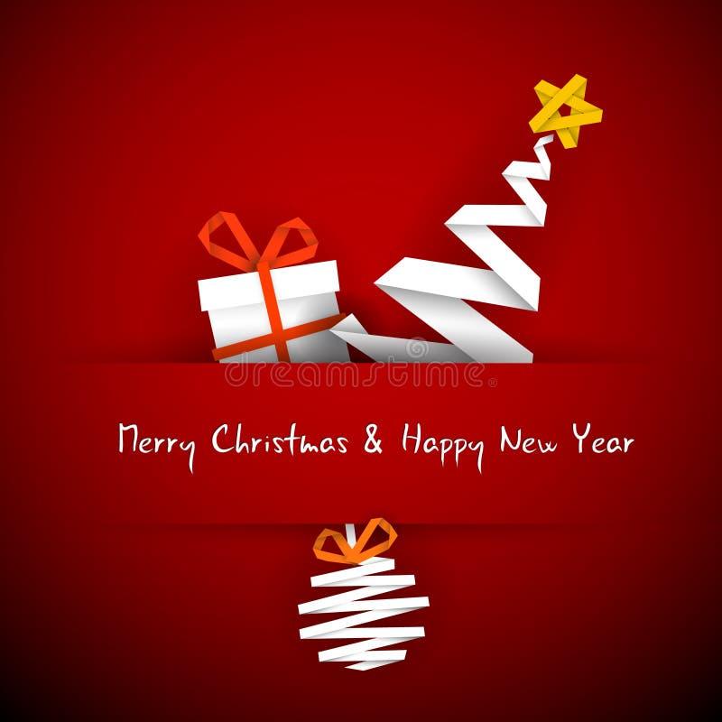 Kerstkaart met gift, boom en snuisterij stock illustratie