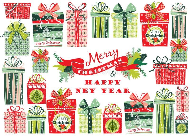 Kerstkaart met giftvakjes Vector illustratie vector illustratie