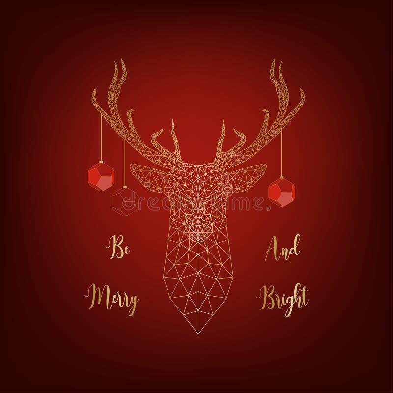 Kerstkaart met gouden die herten door ballen wordt de verfraaid en tekst vrolijk en helder is op rode achtergrond royalty-vrije illustratie