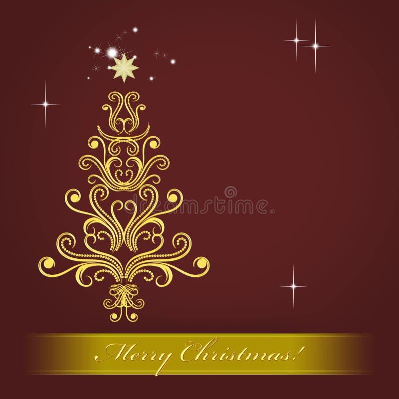 Kerstkaart met gouden Kerstboom royalty-vrije illustratie