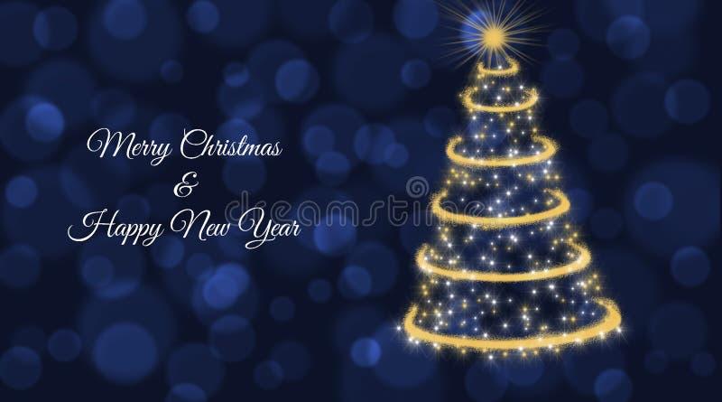 Kerstkaart met gouden Kerstmisboom op blauwe achtergrond royalty-vrije illustratie