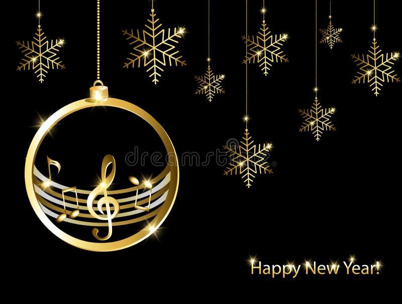 Kerstkaart met gouden muzieknoten stock afbeelding