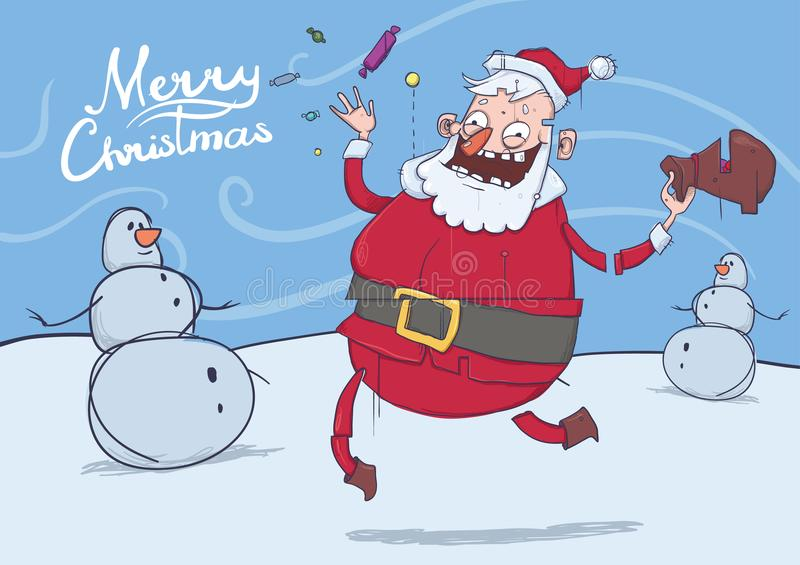 Kerstkaart met grappige glimlachende Santa Claus en sneeuwmannen De kerstman brengt giften en werpt suikergoed in winderig weer vector illustratie