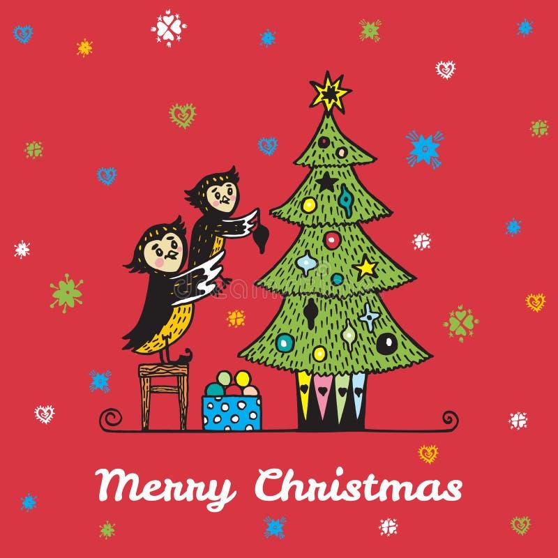 Kerstkaart met hand getrokken uilouder en kind die een Kerstboom verfraaien stock illustratie