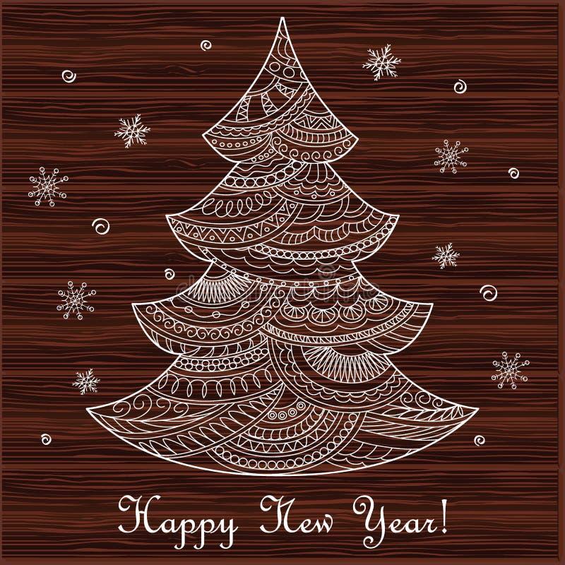 Kerstkaart met hand getrokken verfraaide spar op het hout stock illustratie