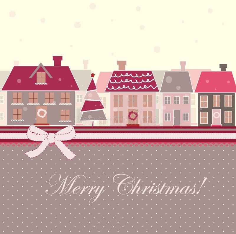 Kerstkaart met huizen