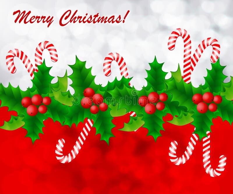 Kerstkaart met hulst en suikergoed stock illustratie
