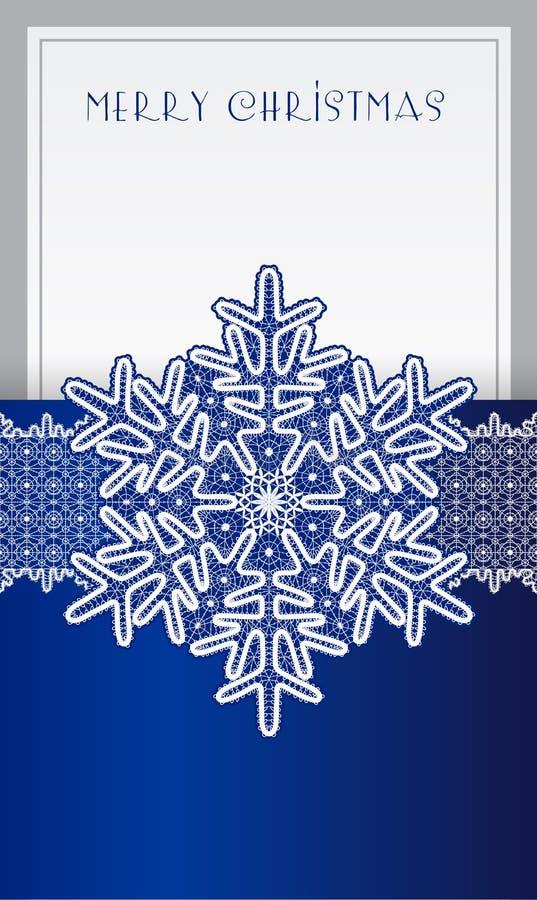 Kerstkaart met kant uitstekende sneeuwvlok vector illustratie