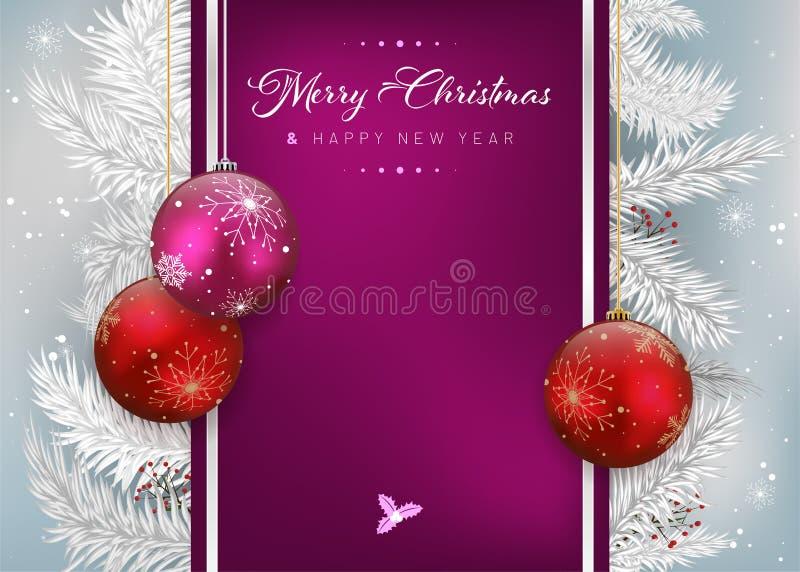 Kerstkaart met Kerstmisballen in rode en violette kleuren stock illustratie