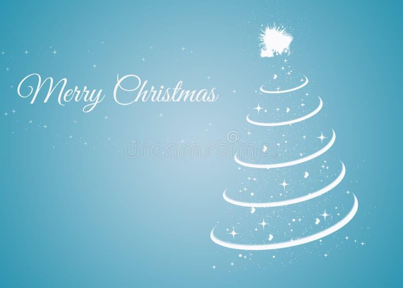 Kerstkaart met Kerstmisboom op blauwe achtergrond vector illustratie