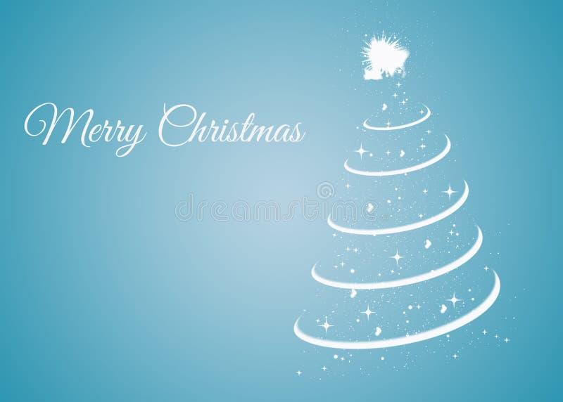 Kerstkaart met Kerstmisboom op blauwe achtergrond stock illustratie