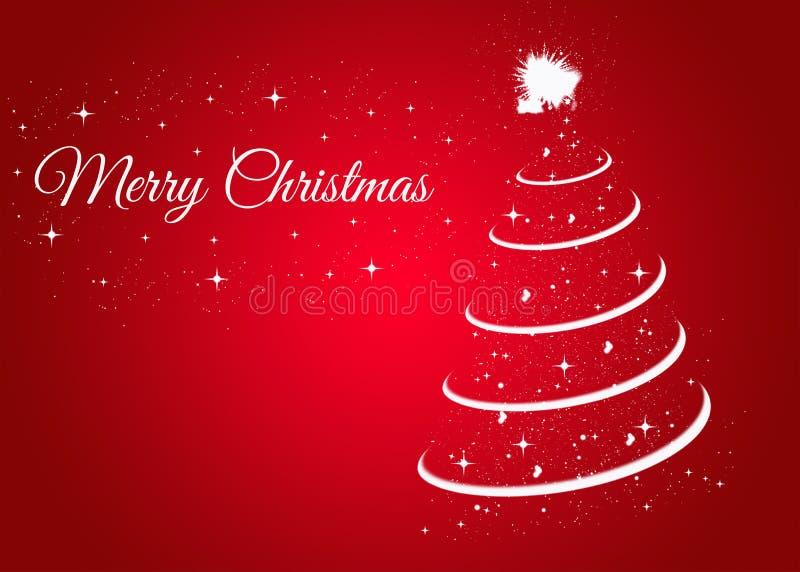 Kerstkaart met Kerstmisboom op rode achtergrond royalty-vrije illustratie