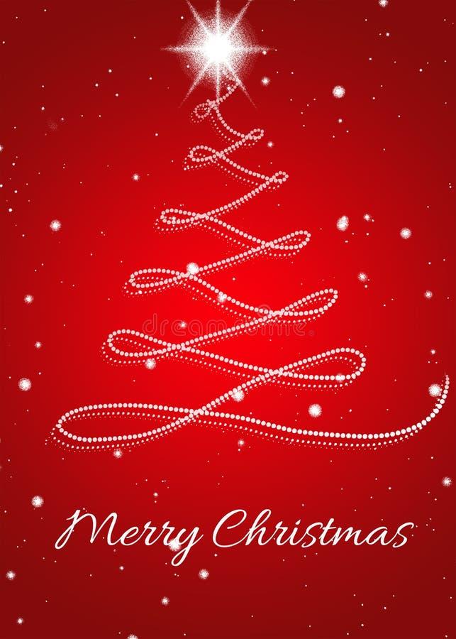 Kerstkaart met Kerstmisboom op rode achtergrond stock illustratie