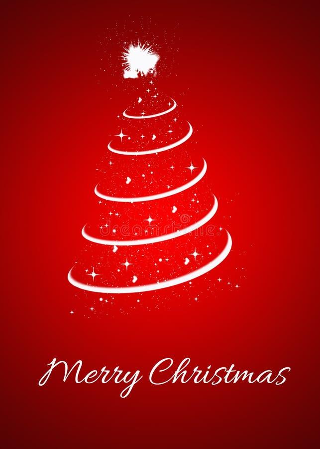 Kerstkaart met Kerstmisboom op rode achtergrond vector illustratie