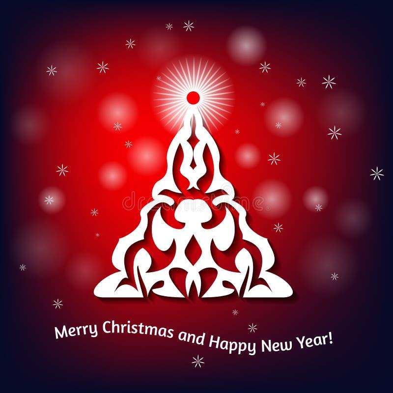 Kerstkaart met Kerstmisboom op vage achtergrond royalty-vrije illustratie