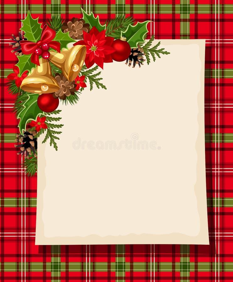 Kerstkaart met klokken, hulst, kegels, ballen, poinsettia en geruit Schots wollen stof Vector eps-10 stock illustratie