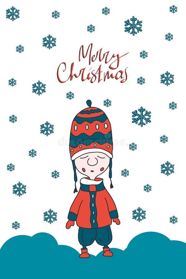 Kerstkaart met leuke gnoom Vlak Ontwerp Skandinavische Kerstmis royalty-vrije illustratie