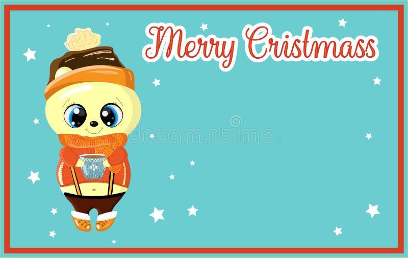 Kerstkaart met leuke ijsbeer Er is een plaats voor uw tekst royalty-vrije illustratie