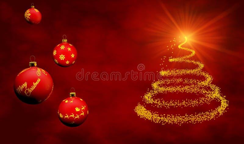 Kerstkaart met ornamenten stock illustratie