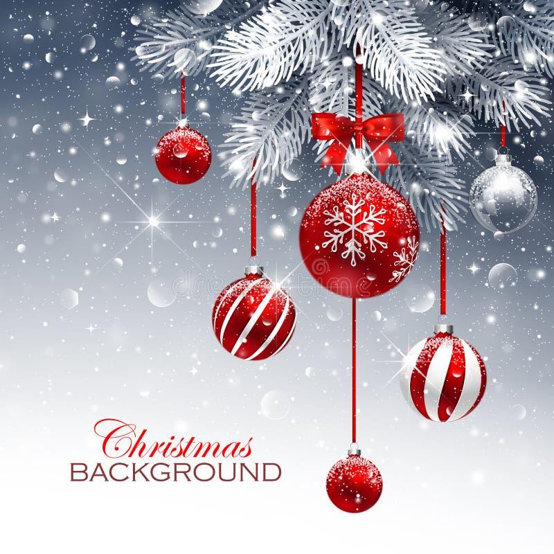Kerstkaart met rode ballen en sneeuw vector illustratie