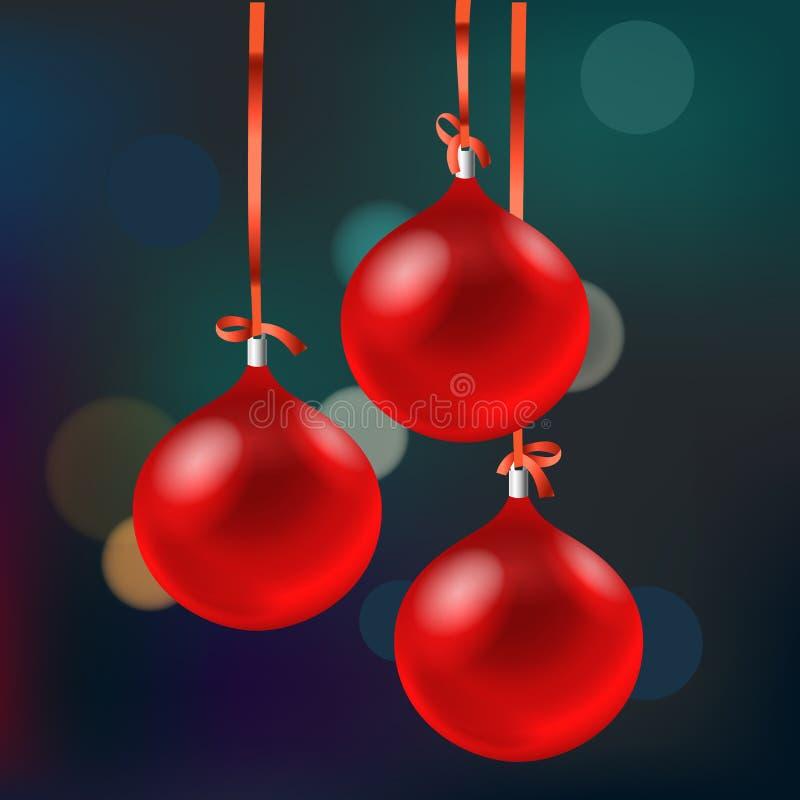 Kerstkaart met rode snuisterijen Vrolijke Kerstmis stock illustratie