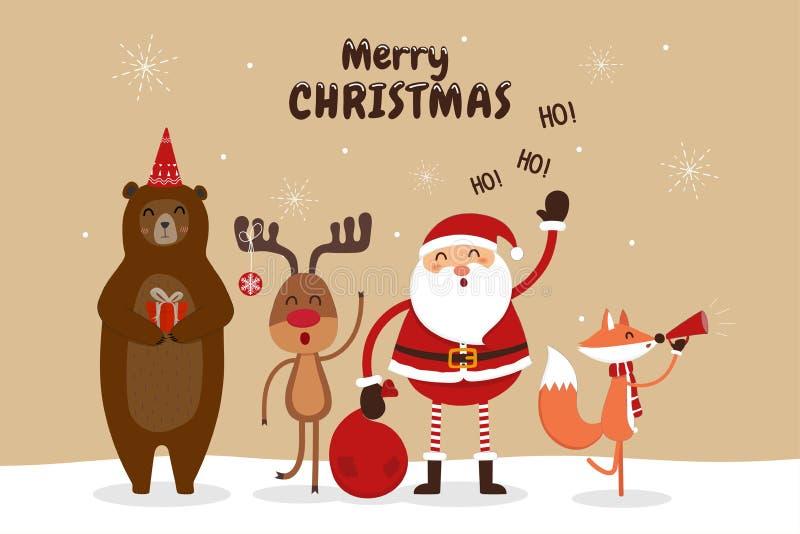Kerstkaart met Santa Claus en wilde dieren vector illustratie