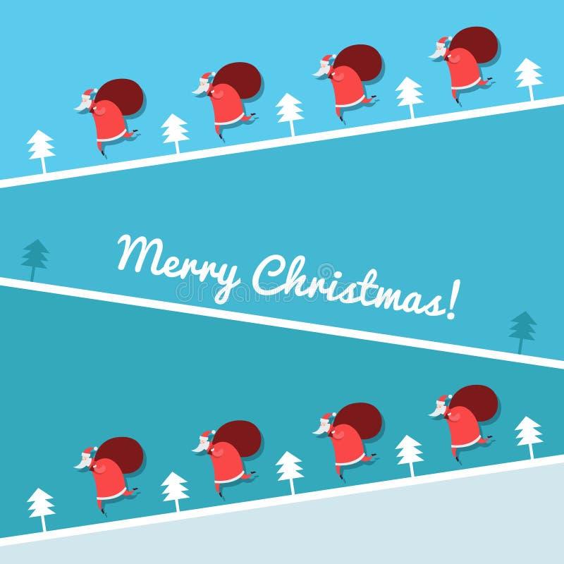 Kerstkaart met Santa Claus-het lopen royalty-vrije illustratie
